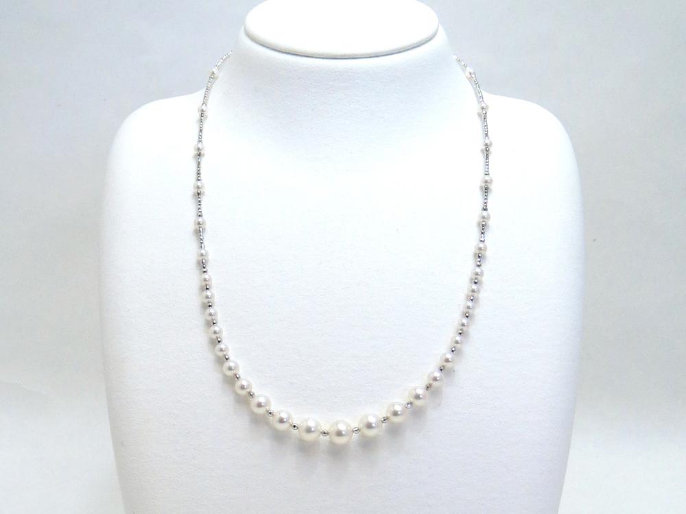 アコヤ真珠グラデーションデザインネックレス