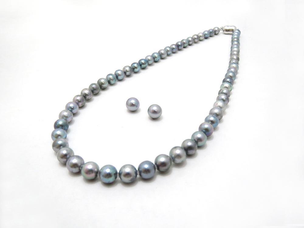 アコヤ真珠(グレー処理)ネックレスセット y-n-612