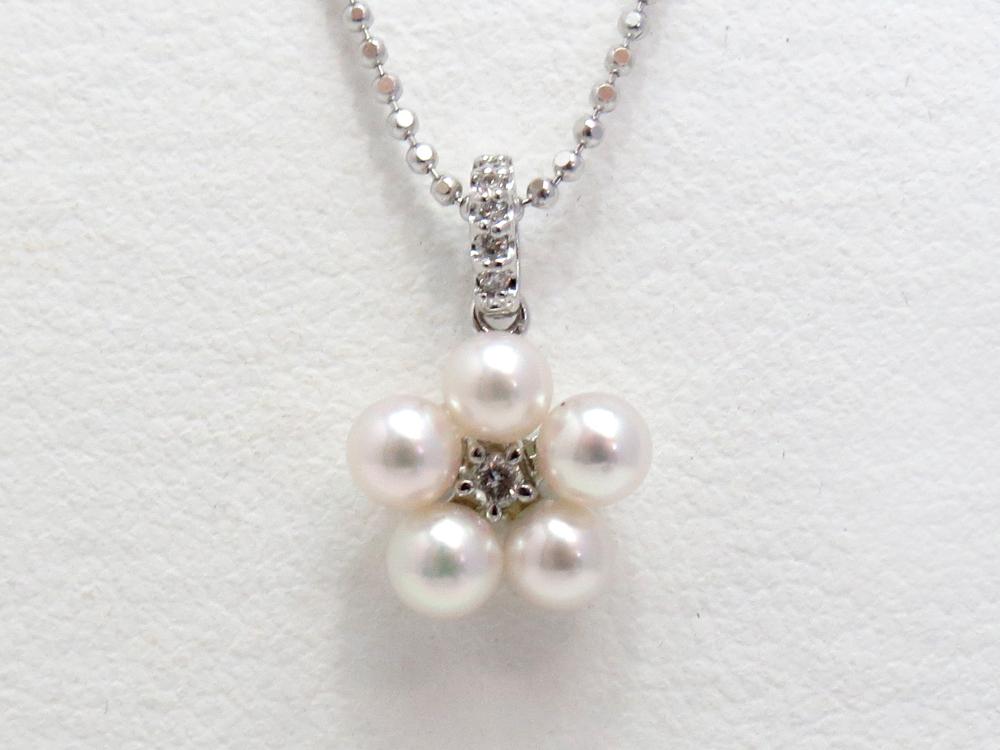 アコヤベビーパールペンダントネックレスダイヤ付き y-p-160
