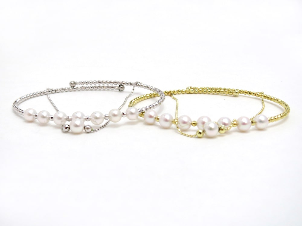アコヤ真珠2連ブレスレット(フリータイプ) y-v-048